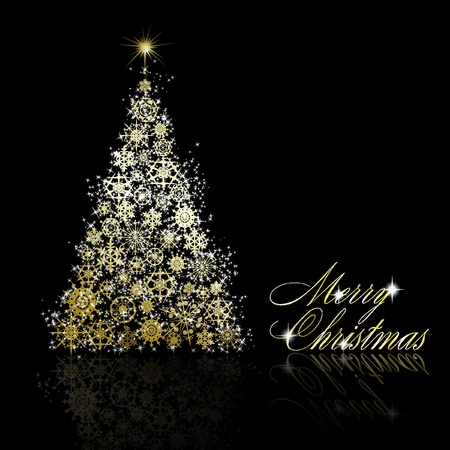 Golden Christmas tree made of gold snowflakes and stars on black background.  illustration Vector