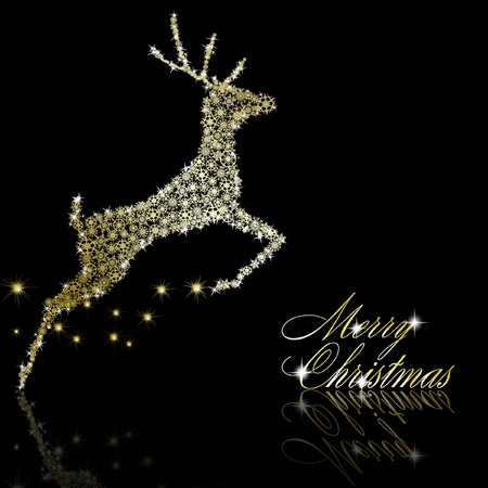 Golden Christmas  deer made of gold snowflakes with stars on black background.  illustration Vector