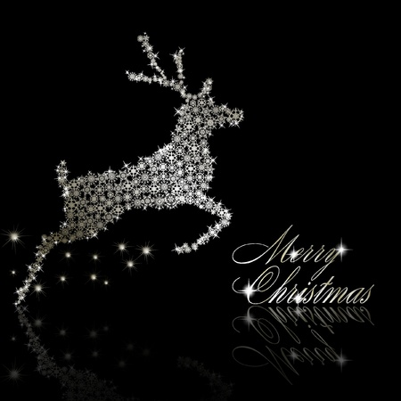 Silver Christmas  deer made of snowflakes with stars on black background.  illustration