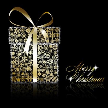 Boîte de cadeau de Noël d'or faite de flocons d'or avec des étoiles sur fond noir. Illustration