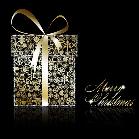 Golden Christmas  gift box made of gold snowflakes with stars on black background.  illustration