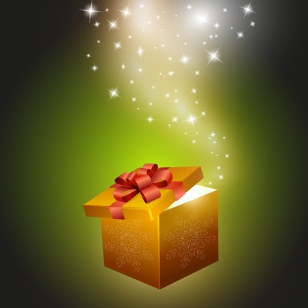 Golden gift box abstract background.  illustration Vector