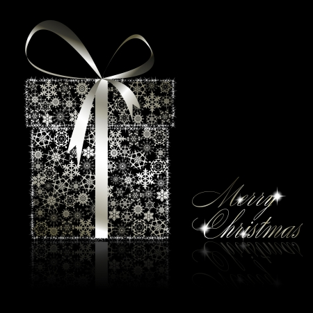 present presentation: Silver Christmas gift box made of snowflakes and stars on black background.  illustration