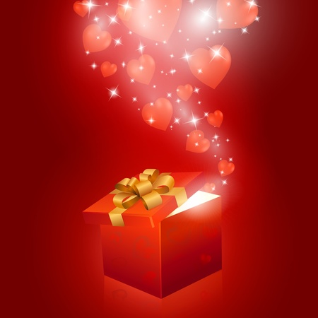 present presentation: Valentines day gift box with hearts. Vector eps10 illustration Illustration