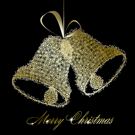 Golden Christmas bells made of gold snowflakes and stars on black background.  illustration Illustration