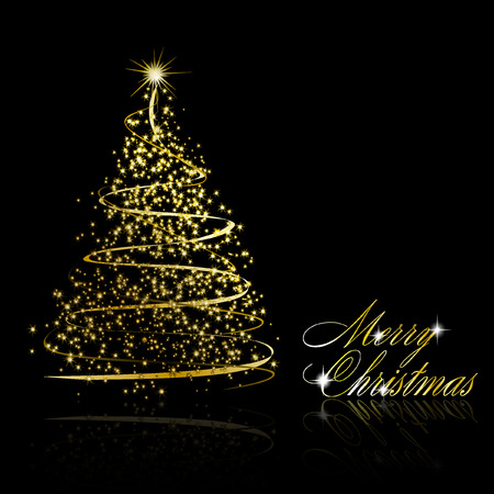christmas: Abstract golden christmas tree on black background illustration