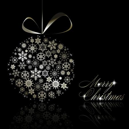christmas postcard: Silver Merry Christmas postcard.  illustration