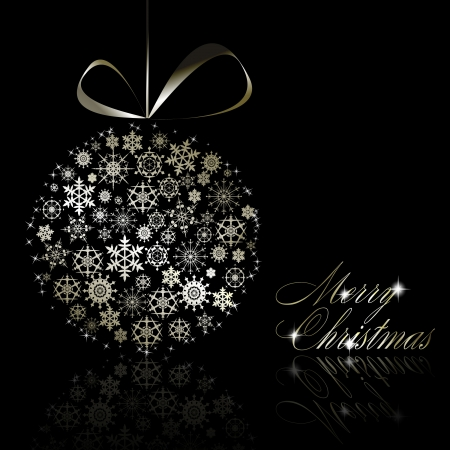 Silver Merry Christmas postcard.  illustration Stock Vector - 8687448