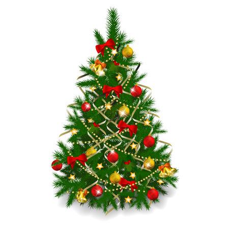 Christmas tree on white background.  illustration