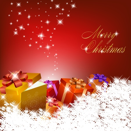 Abstract red christmas background with gift boxes. Vector