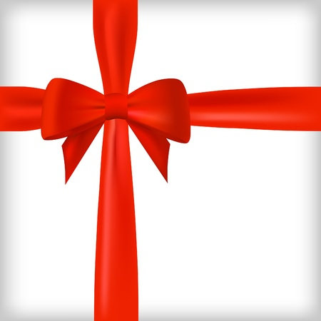 red ribbon: Realistic red bow and ribbon.