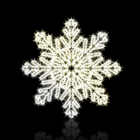 Christmas snowflake on black background. Stock Vector - 8744612