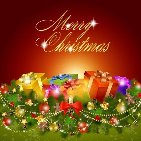 Merry christmas wens kaart met geschenk dozen.
