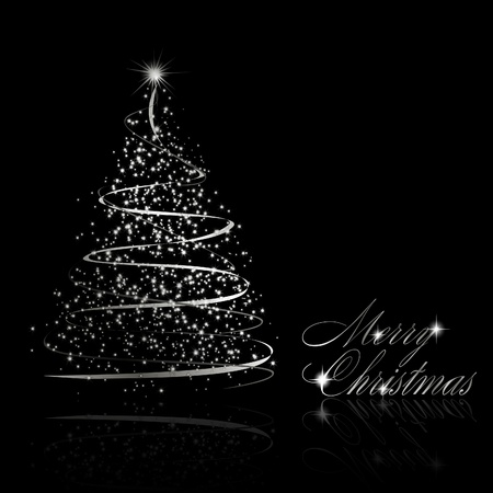 Abstract silver christmas tree on black background.