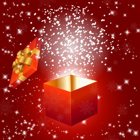 Abstract red background with gift box and snowflakes.  Vector