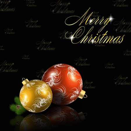 Red and gold christmas balls on black background.  Vector