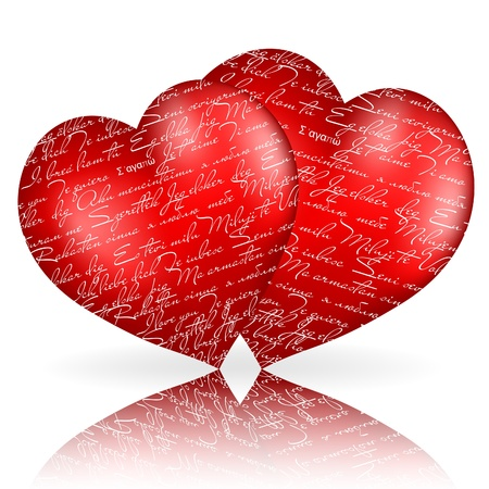 quot: Two red hearts with &quot,I love you&quot, in different  languages.