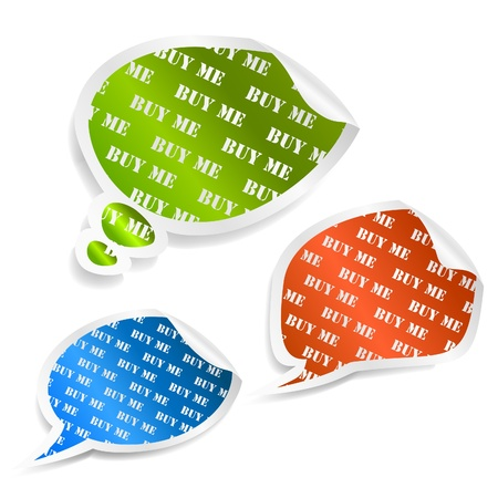 Set of speech bubble stickers.  Vector