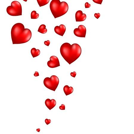 Fondo de corazones rojos vuelo abstracta.