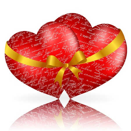 Two red hearts with golden bow and ribbon on white background.  Vector