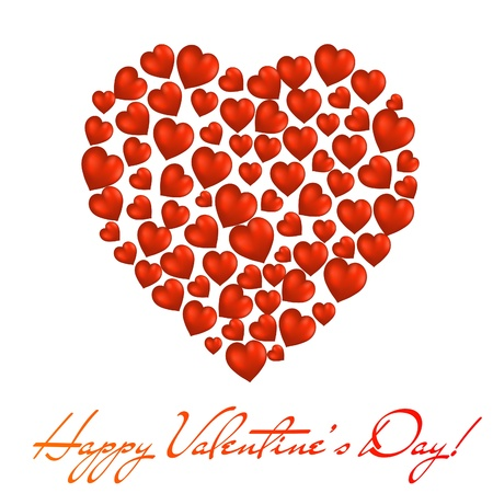 Abstract heart made of red hearts on white background. Valentine's day postcard. Vector eps10 illustration Stock Vector - 8744609