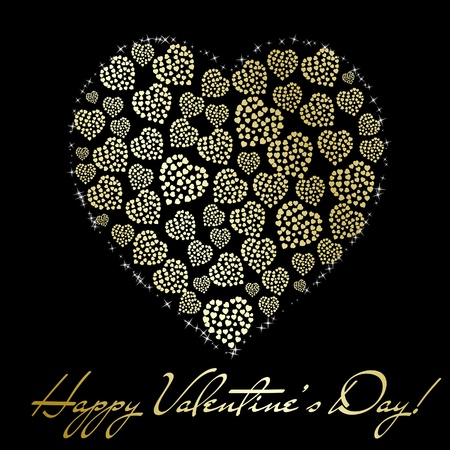 Abstract golden heart made of small hearts on black background. Valentine's day greeting card. Vector eps10 illustration Stock Vector - 8744622
