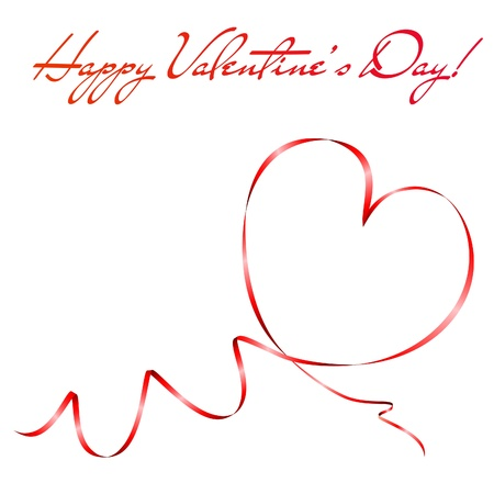 heart vector: Heart shape made of red ribbon. Valentines day greeting card. Vector eps10 illustration