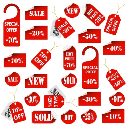 discounts: Set of red price tags and labels Illustration