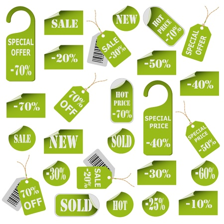 Set of green price tags and labels. Illustration
