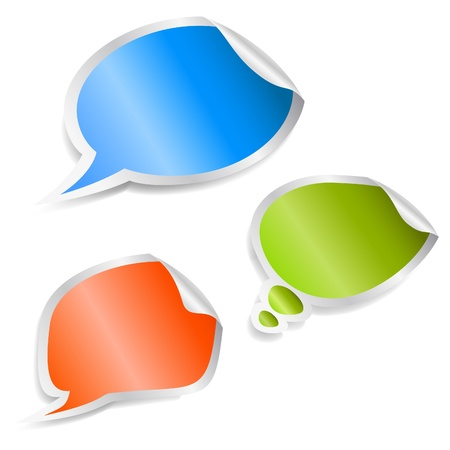 blank expression: Set of speech bubble stickers.  Illustration