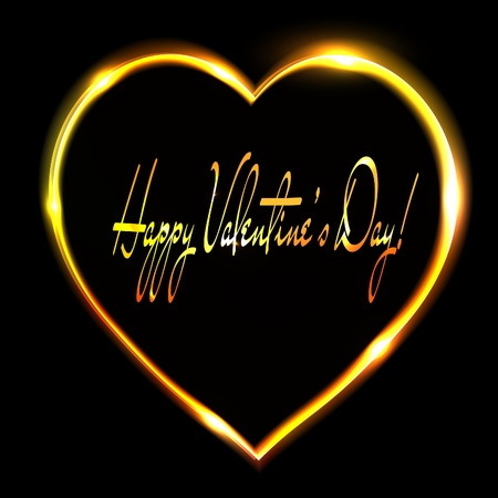 Abstract golden heart on black background. Valentines day postcard. Vector eps10 illustration Vector