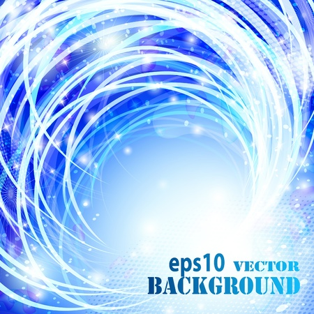 Abstract blue curves background.  Vector