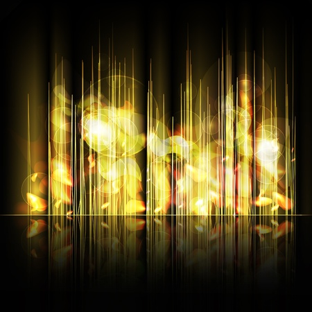 Abstract yellow lines background with reflection. Vector