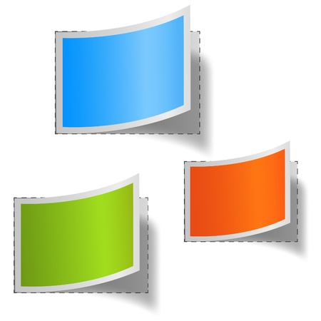 multicoloured: Set of multicolored blank labels.