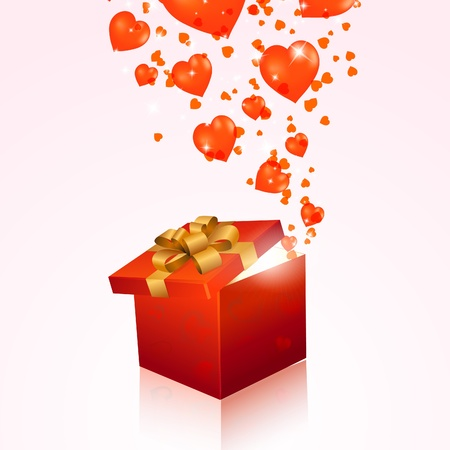 Valentines day gift box with red hearts. Vector eps10 illustration Vector