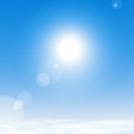 blue sky: Sun over the clouds in the blue sky. Illustration