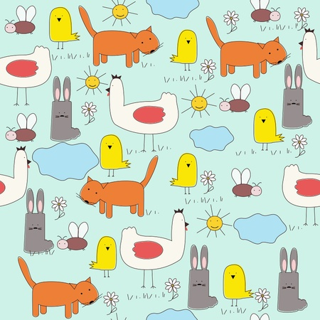 Seamless of cartoon animals (childrens drawings) . Vector eps10 illustration Vector