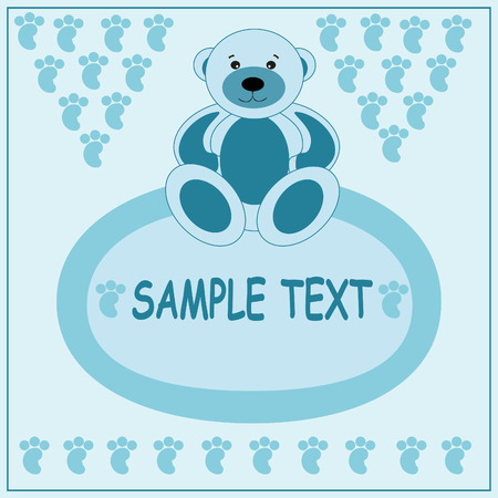 Light blue greeting card with bear.  Vector
