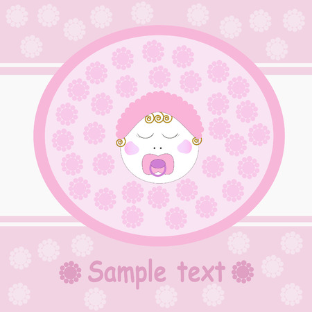 Pink greeting card with baby girl.  Vector