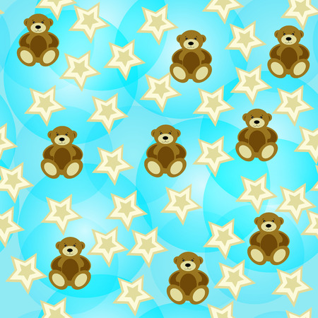 Adorable seamless background with teddy bears and stars.  Vector