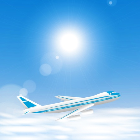Airplane above the clouds in the blue sky. Vector eps10 illustration Illustration