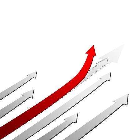 rosnąco: Czerwona strzaÅ'ka w górÄ™. Powodzenia koncepcji. Ilustracja wektora eps10