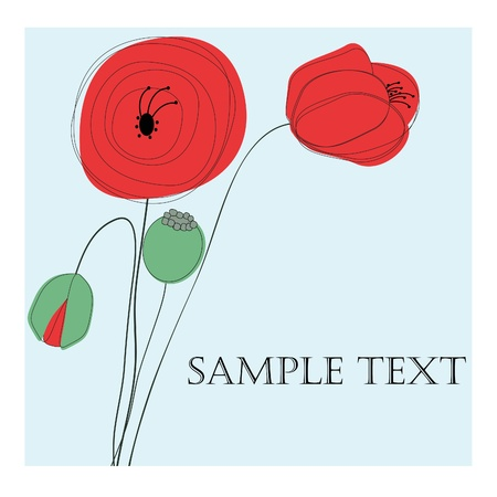 Greeting card with poppies. Vector eps10 illustration Vector