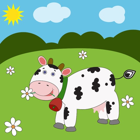 Landscape with funny cow. Vector eps10 illustration  Vector