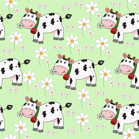 Seamless background with funny cow. Vector eps10 illustration 