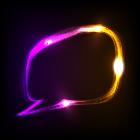 Abstract colorful neon speech bubble.