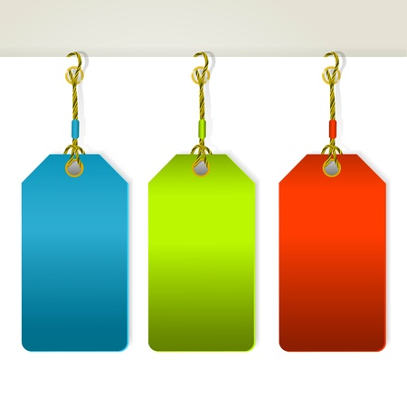 tags: Set of colorful tag labels. Illustration