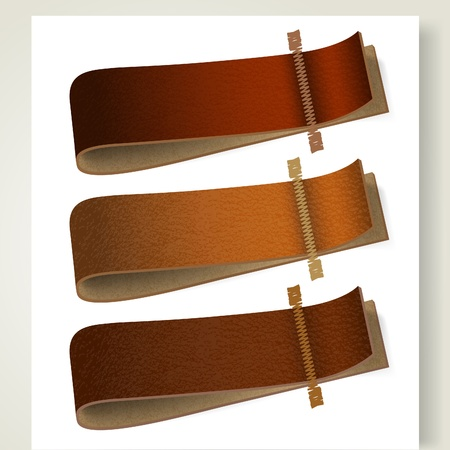 Set of leather labels. Vector