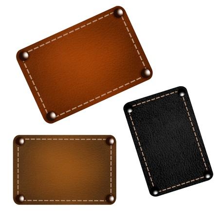 rivets: Set of leather labels. Illustration