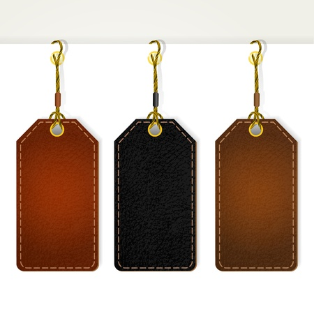 suede: Set of leather price tags.